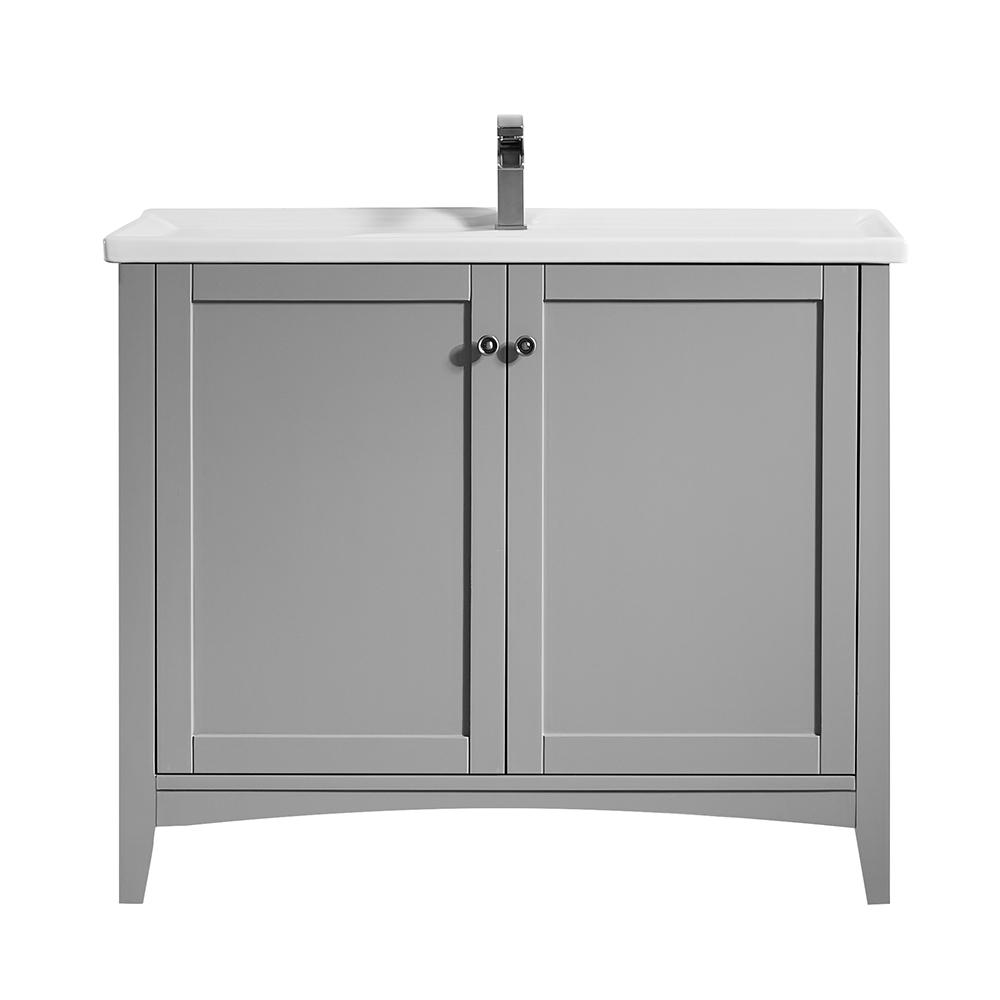 Roswell Asti 40 In Bath Vanity In Grey With Ceramic Vanity Top In
