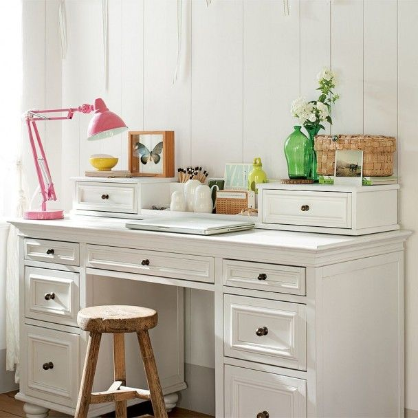 desk used as vanity. White Desk and Stool Girls Bedroom Design for Teens by PB Teen  This can be