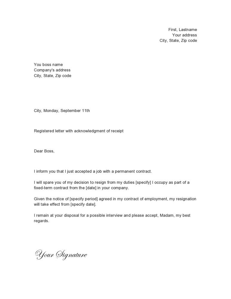 here is just another example of a letter of yresignation