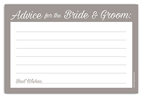 Guajolote Prints Wedding Advice Cards for The Bride /& Groom 24 Count Black