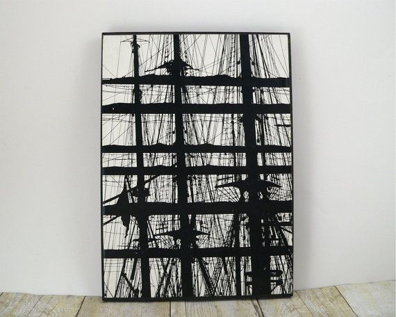 Modern art photography print graphic industrial black and white lines grid abstract minimalist poster ship rigging by ulf h holmstedt