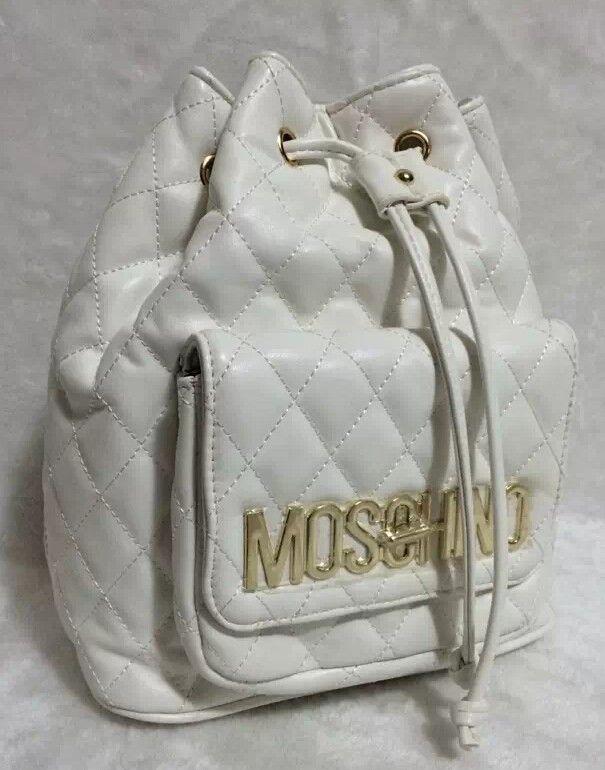 Moschino Bucket Bag Women Drawstring Backpack White - moschinooutlet2015.com