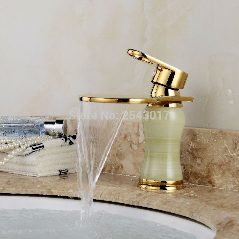 Antique Retro Bathroom Marble Stone Faucet Golden Color Waterfall ...