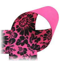 FLOWER Ribbon - Printed, fruit punch, ivory, and black