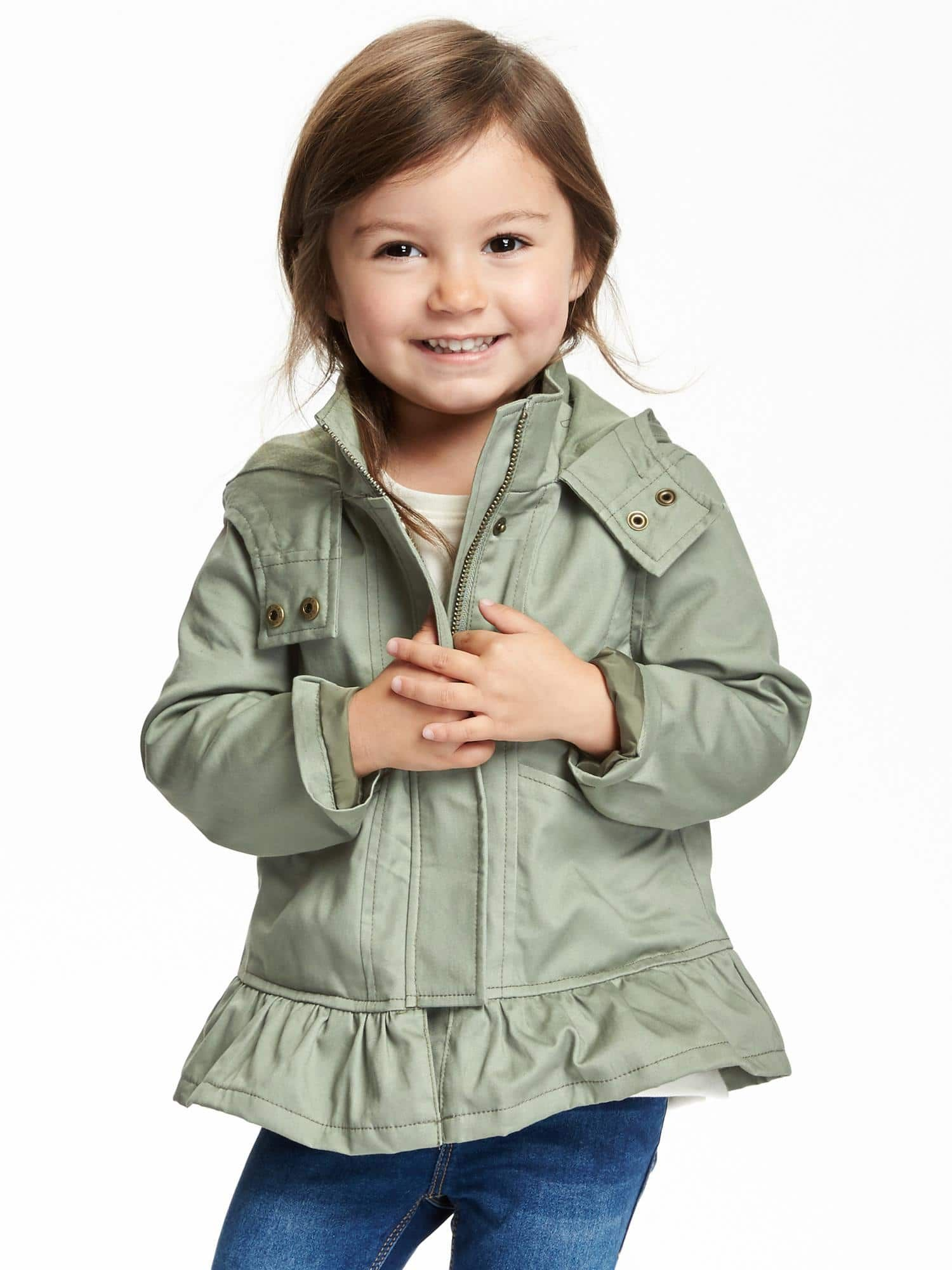 old navy hooded ruffle hem anorak For baby girl Pinterest