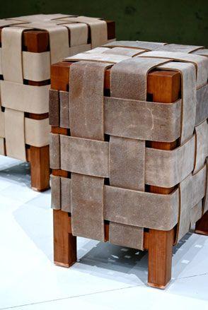 banco asiento madera mas trensado gamuza. \'Keil\' stool by Swiss ...