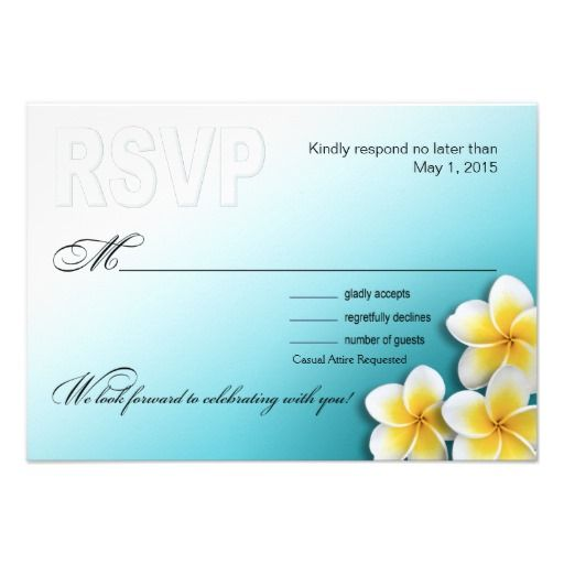 Plumeria Starfish Tropical Beach RSVP Announcement