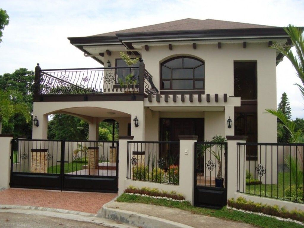 Stylish Home Ideas With White Exterior Color And Modern Iron Fence