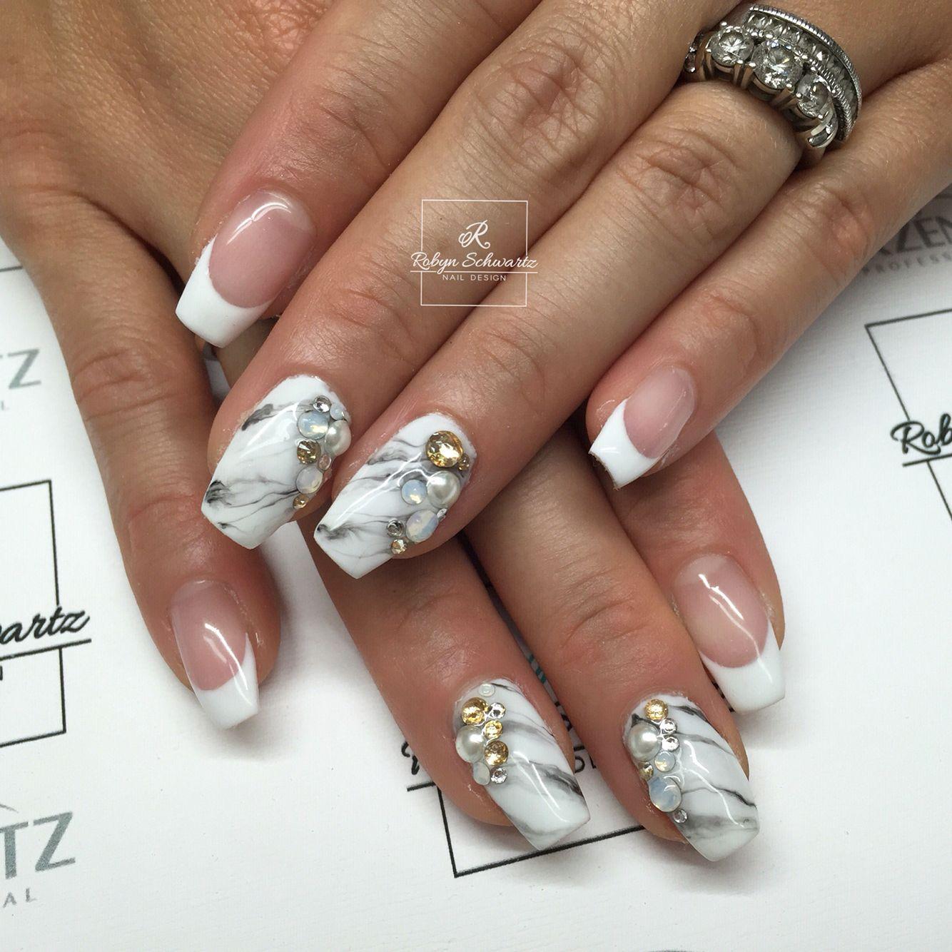 Marbled Gel Polish On Natural Nails Blingy Nails Pinterest