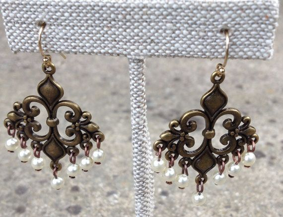 Brass and pearl chandelier earrings by agfossil on Etsy, $58 ...