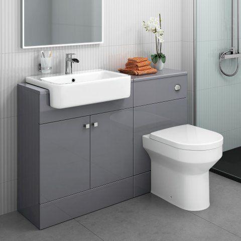 1160mm Harper Gloss Grey Combined Vanity Unit Cesar Iii Pan Toilet And Sink Unit Grey Bathroom Furniture Sink Vanity Unit