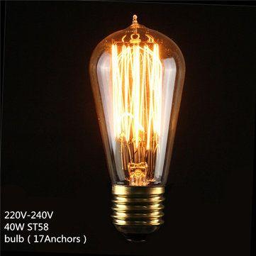 Only US$2.99, buy best E27 ST58 40W Vintage Antique Edison Style Carbon Filament Clear Glass Bulb 220-240V sale online store at wholesale price.US/EU warehouse.