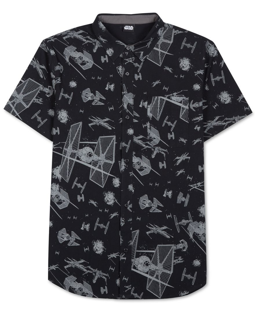 Men's buttoned shirt in Star Wars print A6t9Qebw