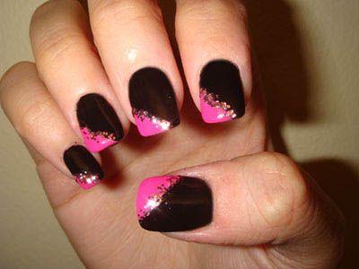 Cans Of Black Pink Gold Nails Art Design