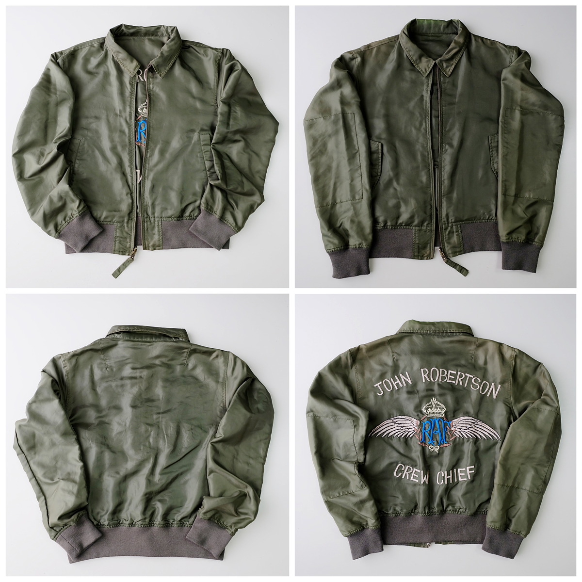 Vintage Japanese Army John Robertson Crew Chief Military Bomber Embroidered Embroidery Sukajan Souvenir Jacket Souvenir Jacket Jackets Vintage Japanese [ 1200 x 1200 Pixel ]