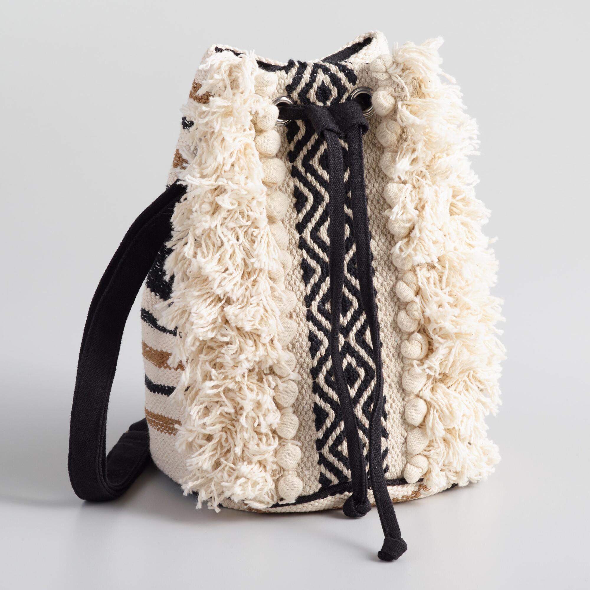 c1412ca92e Black And White Jacquard Fringe Crossbody Bucket Bag by World Market ...