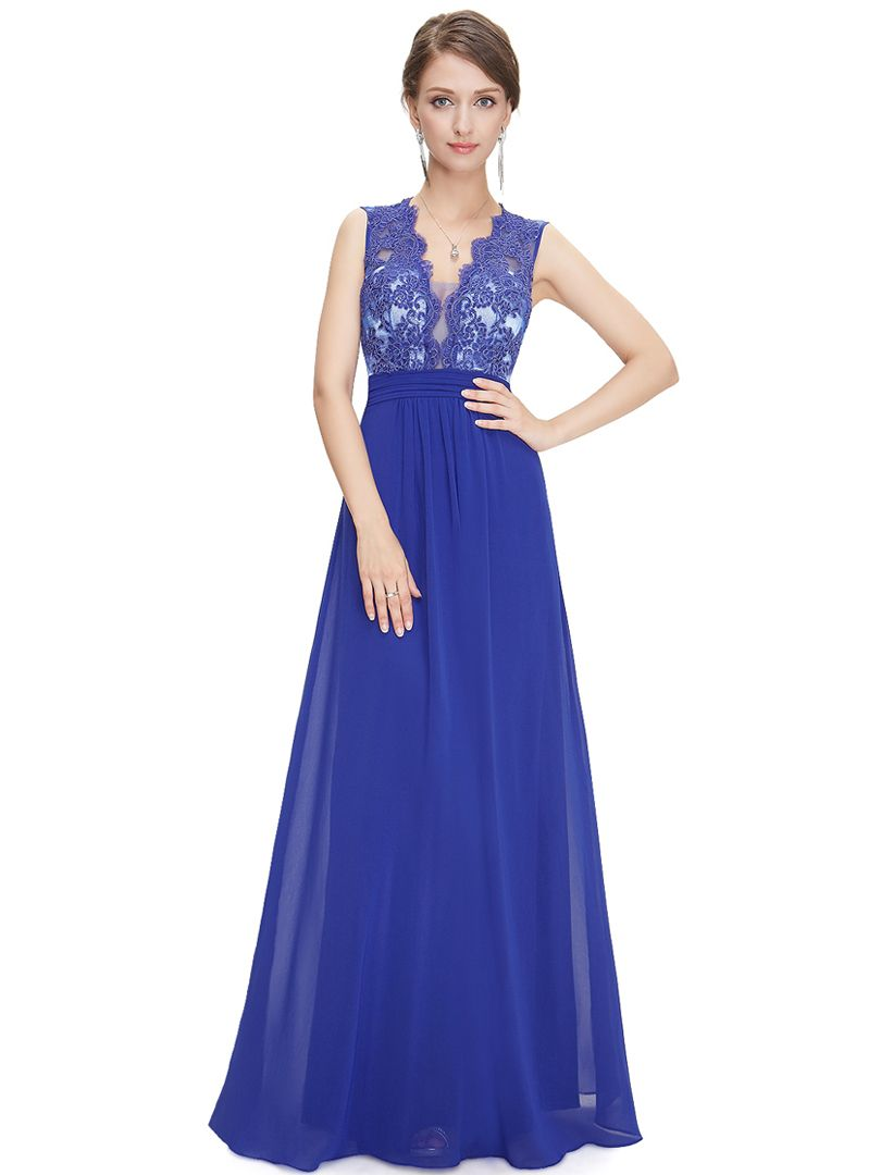 Royal Blue Sheer Back Lace Panel V-neck Maxi Dress | fashion sketch ...