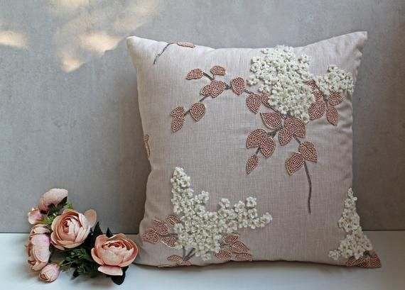 Light Taupe Cotton Linen Blend Pillow Wool zari Embroidery | Etsy