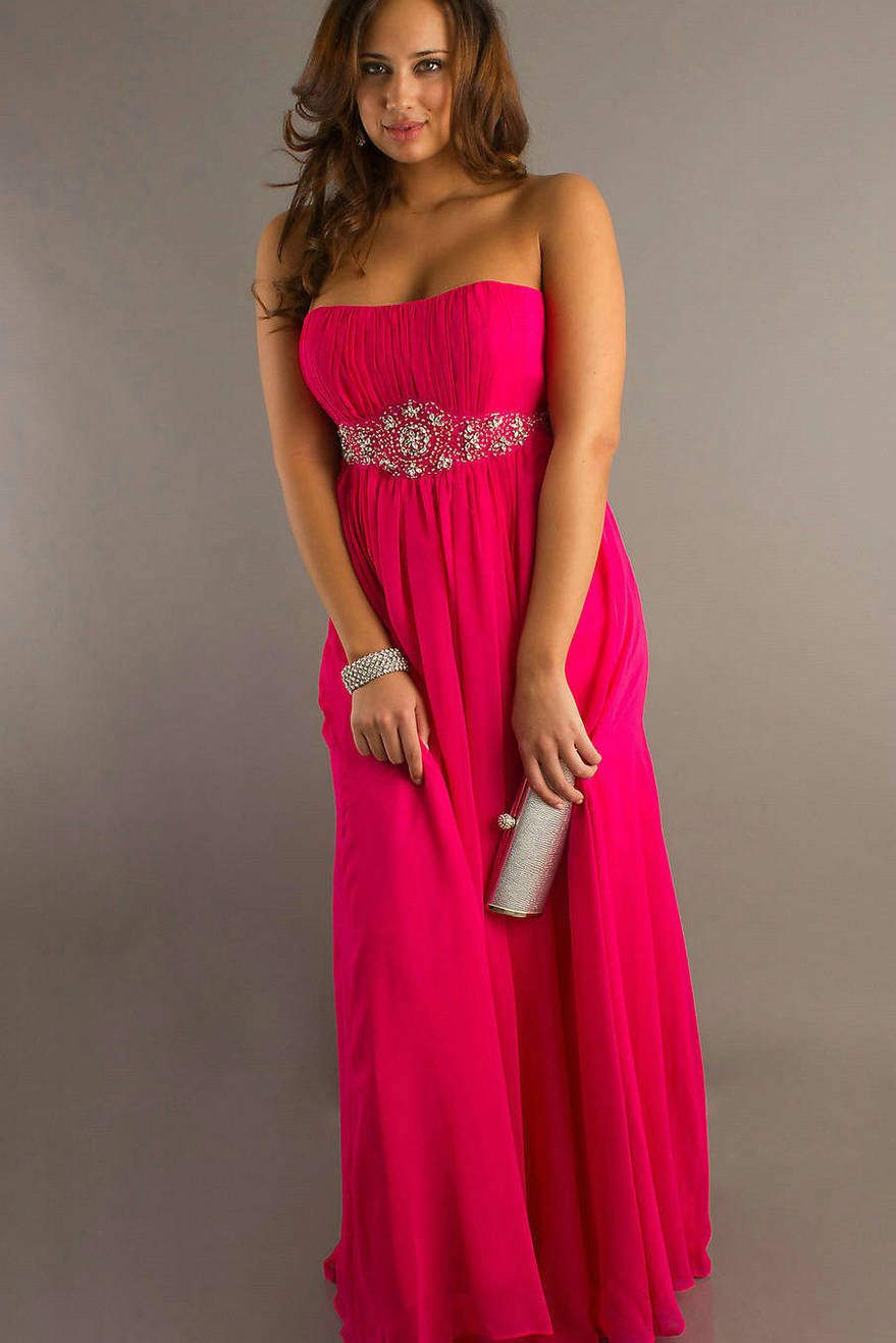Beaded waist strapless empire strapless fuchsia flowing plus size beaded waist strapless empire strapless fuchsia flowing plus size gown 20122g 8791318 ombrellifo Choice Image