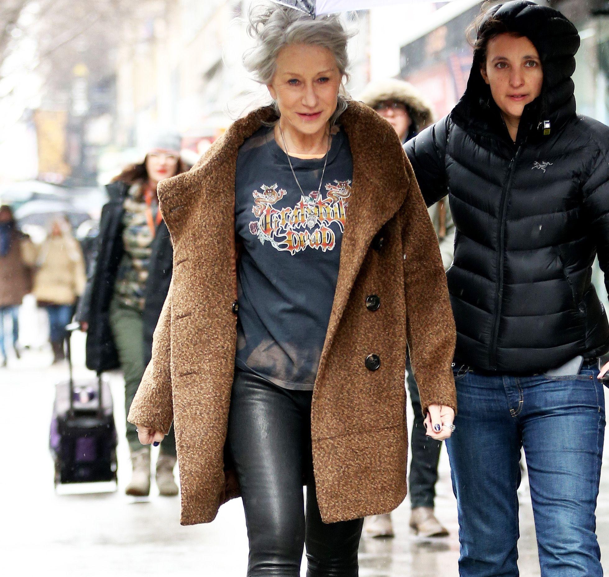 Age is clearly just a number for Helen Mirren!   The 70-year-old actress rocked a pair of leather leggings and a Grateful Dead T-shirt during an...