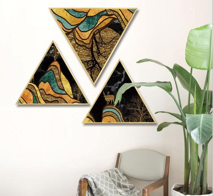 Abstract Elk Triangle View Canvas Wall Art Photo Printed Home Wall