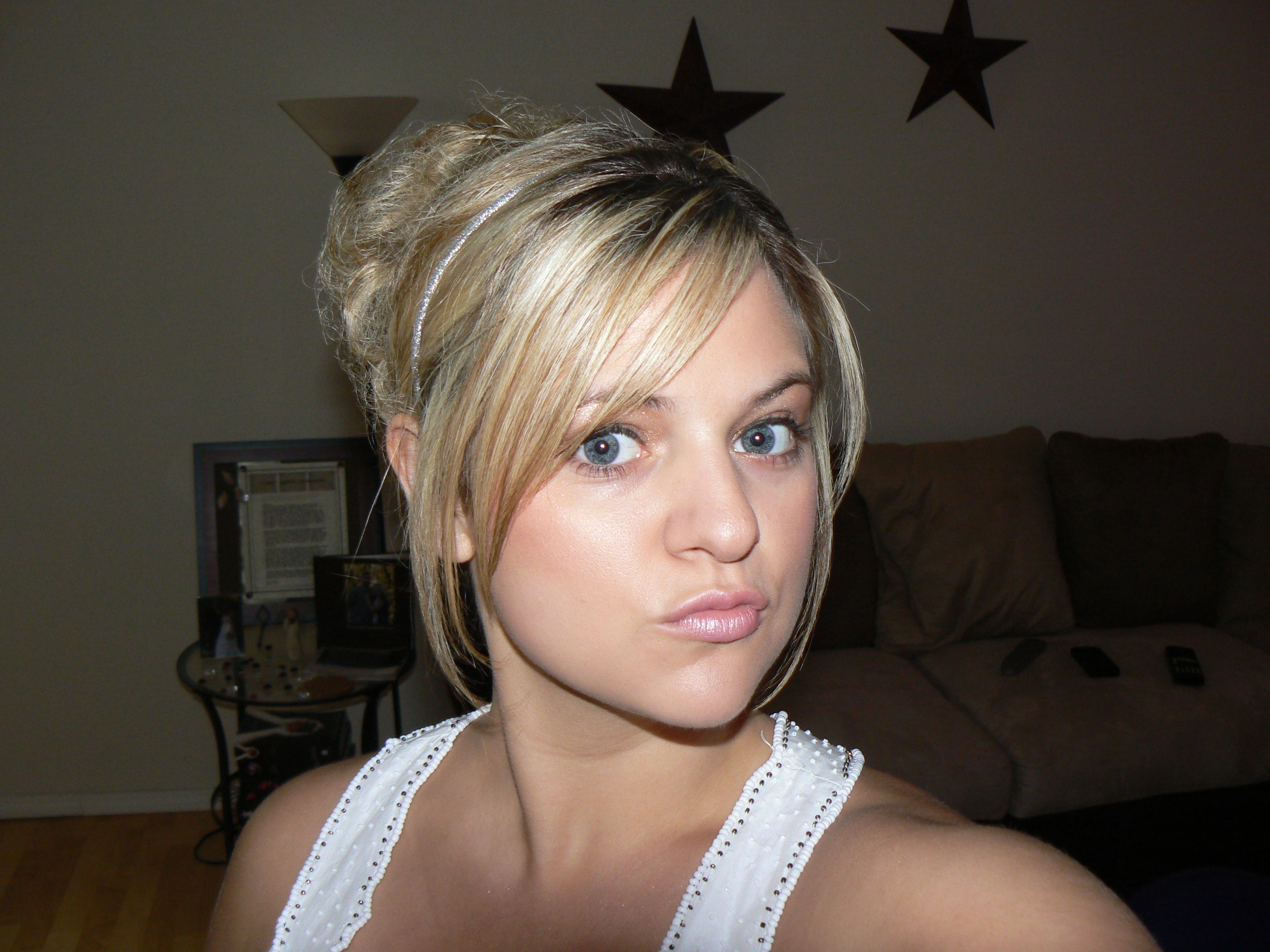 blonde hair pulled with bangs