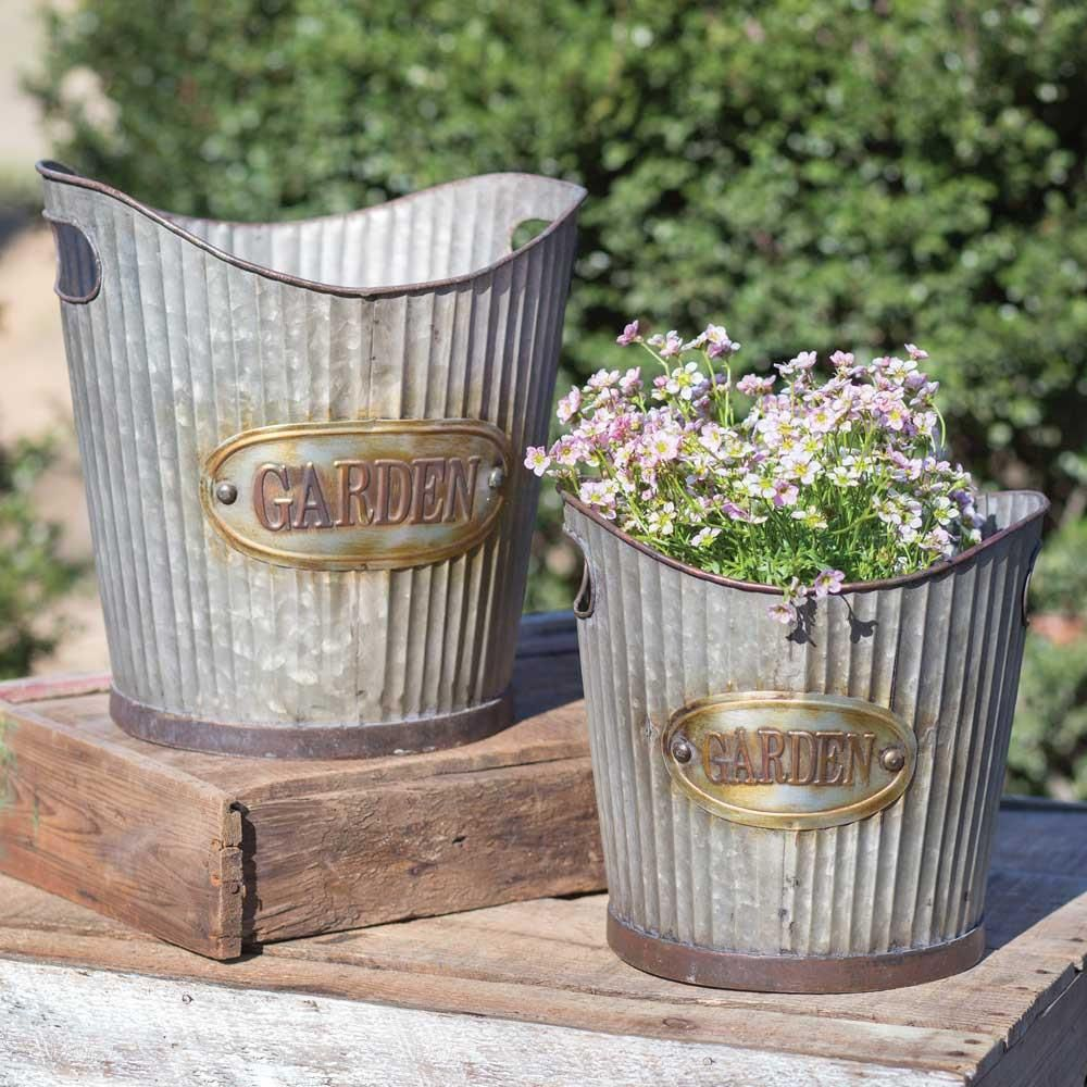 Set Of Two Corrugated Tapered Metal Garden Pails Buckets