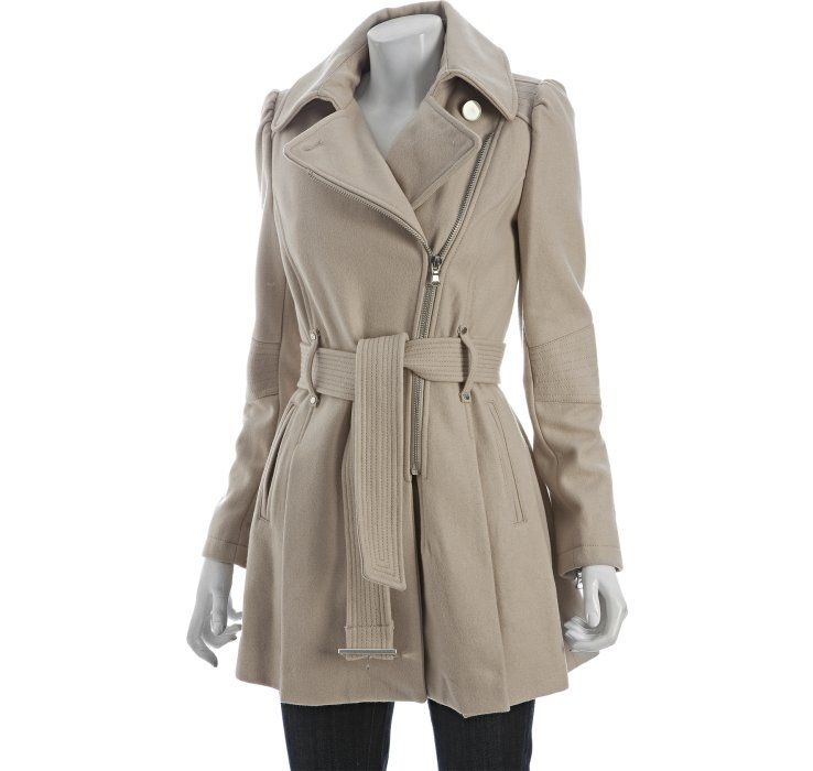 KENNETH COLE NEW YORK Wool Asymmetrical Zip Belted Coat Flax $79