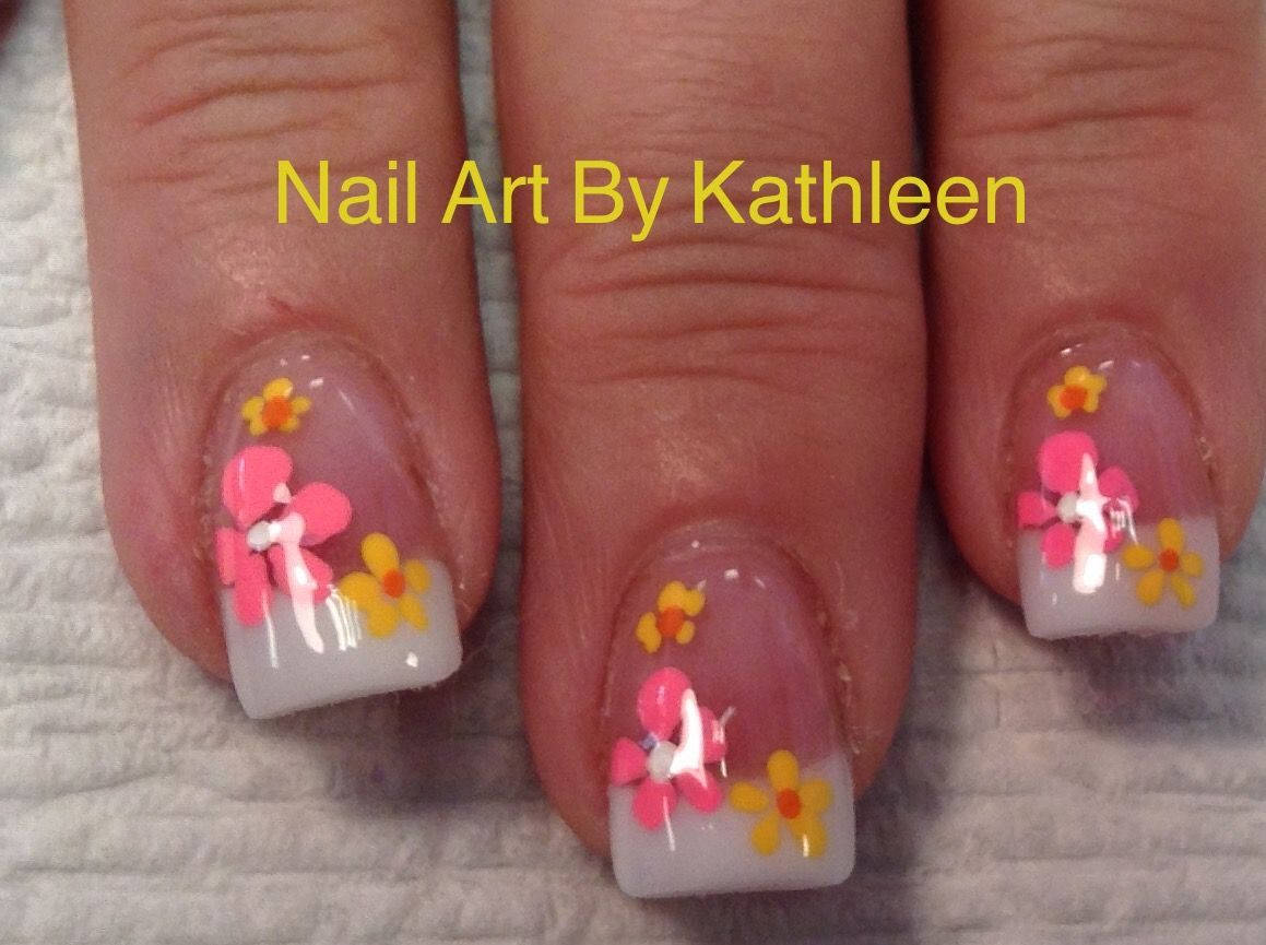 Yellow And Pink Flower Nail Art On Pink And White Acrylic Nails