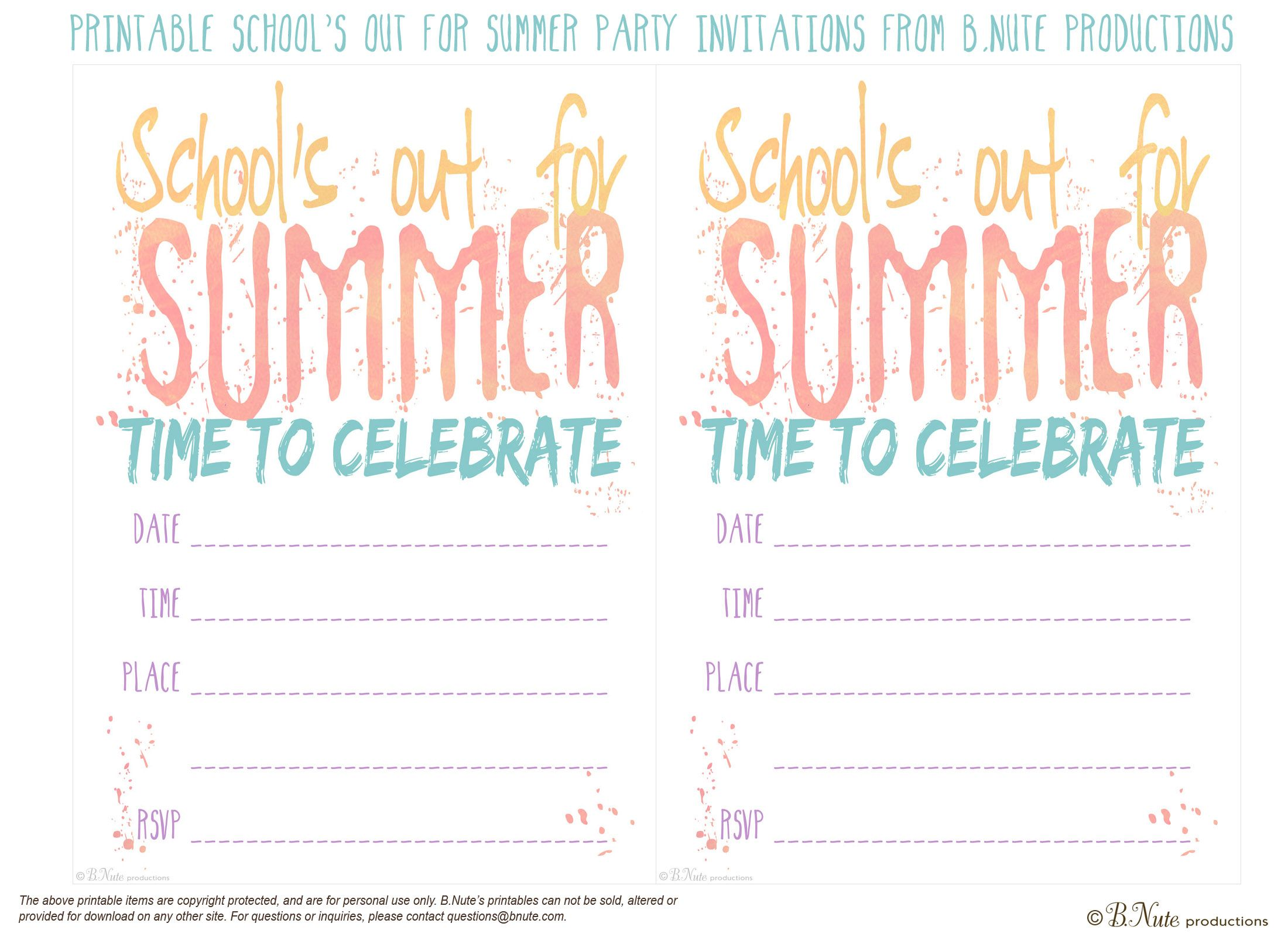Free Printable School S Out For Summer Party Invitations