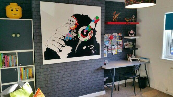 Big Boys Room Banksie Decal Brick Wallpaper Funky Grey Boys Bedroom Chimney Breast Desk
