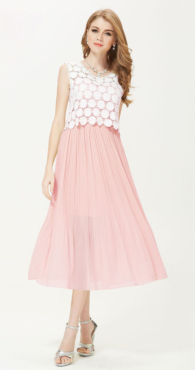 Ever-Pretty Pink Lace Summer Dress #everpretty #pink #lace | Fashion ...
