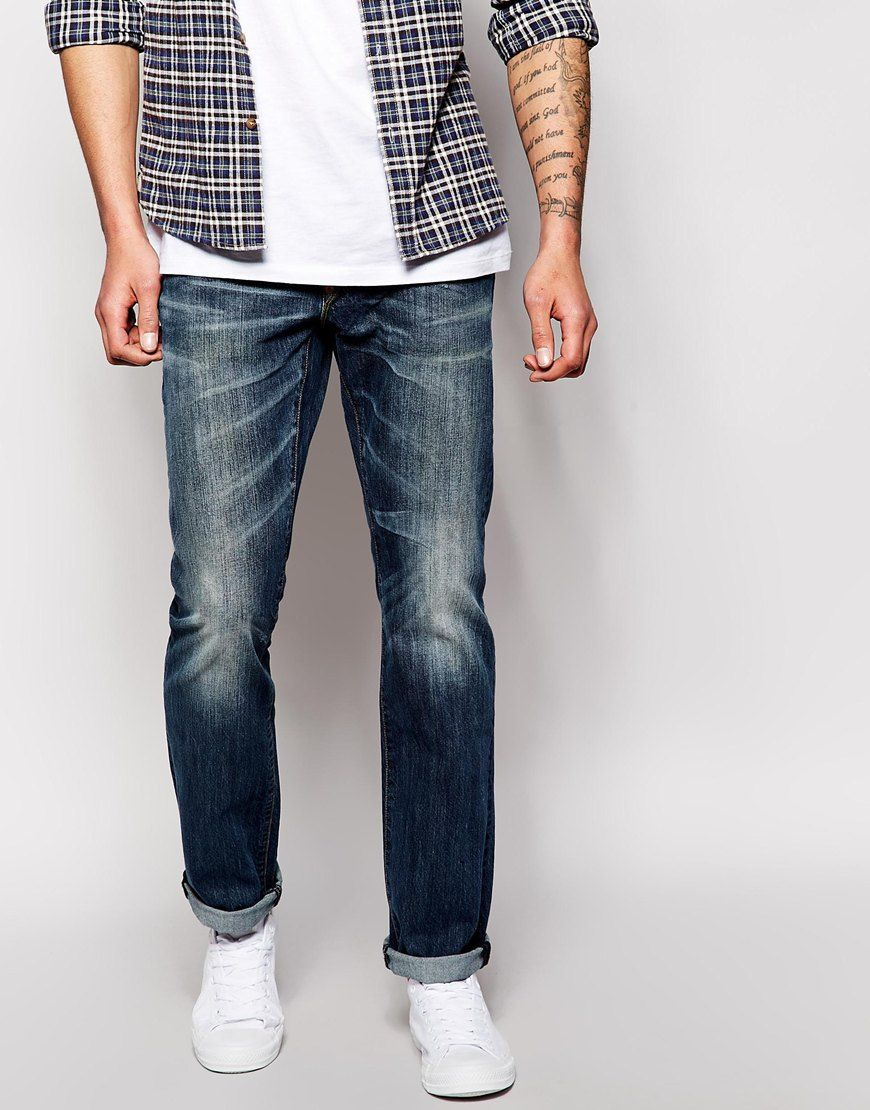 "Jeans by Blue Collar Worker Non-stretch denim Button fly Whisker detail and fading through leg Contrast stitching Slim fit - cut closely to the body Machine wash 100% Cotton Our model wears a 32""/81cm regular and is 188cm/6'2"" tall"