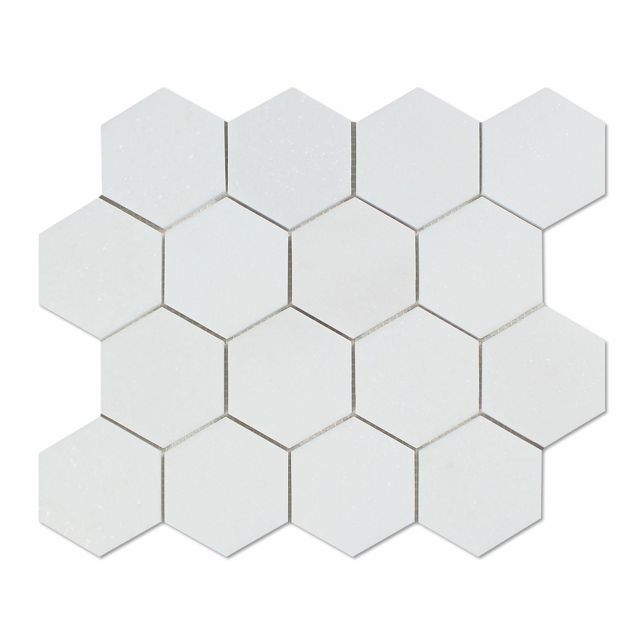 Thassos White Marble Honed 3 Hexagon Mosaic Tile Hexagon Mosaic