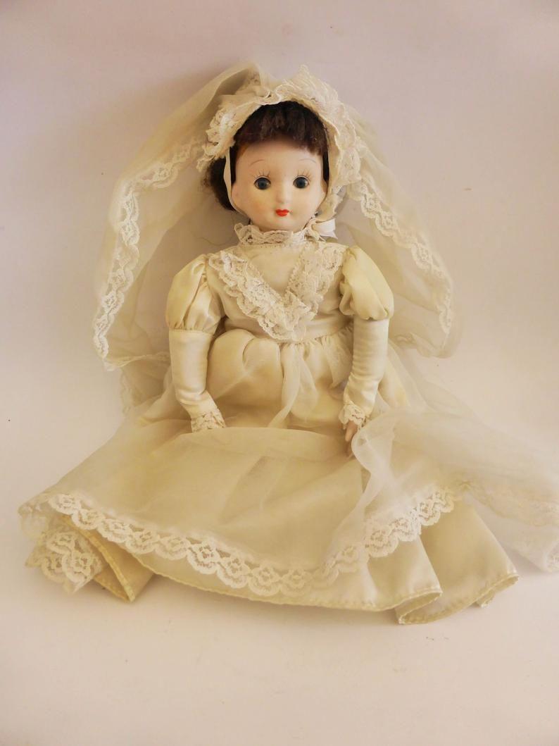 Porcelain Bride Doll in White Dress, Vintage Bridal Doll, Hand Painted, Cute Wedding Decor, Nursery Decor, Sweet Bride Gift #bridedolls