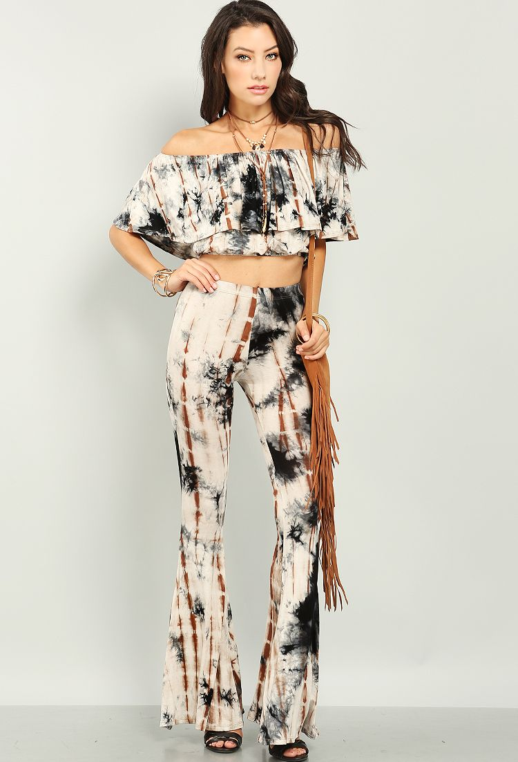 Tie-Dyed Flare Pants $18.99