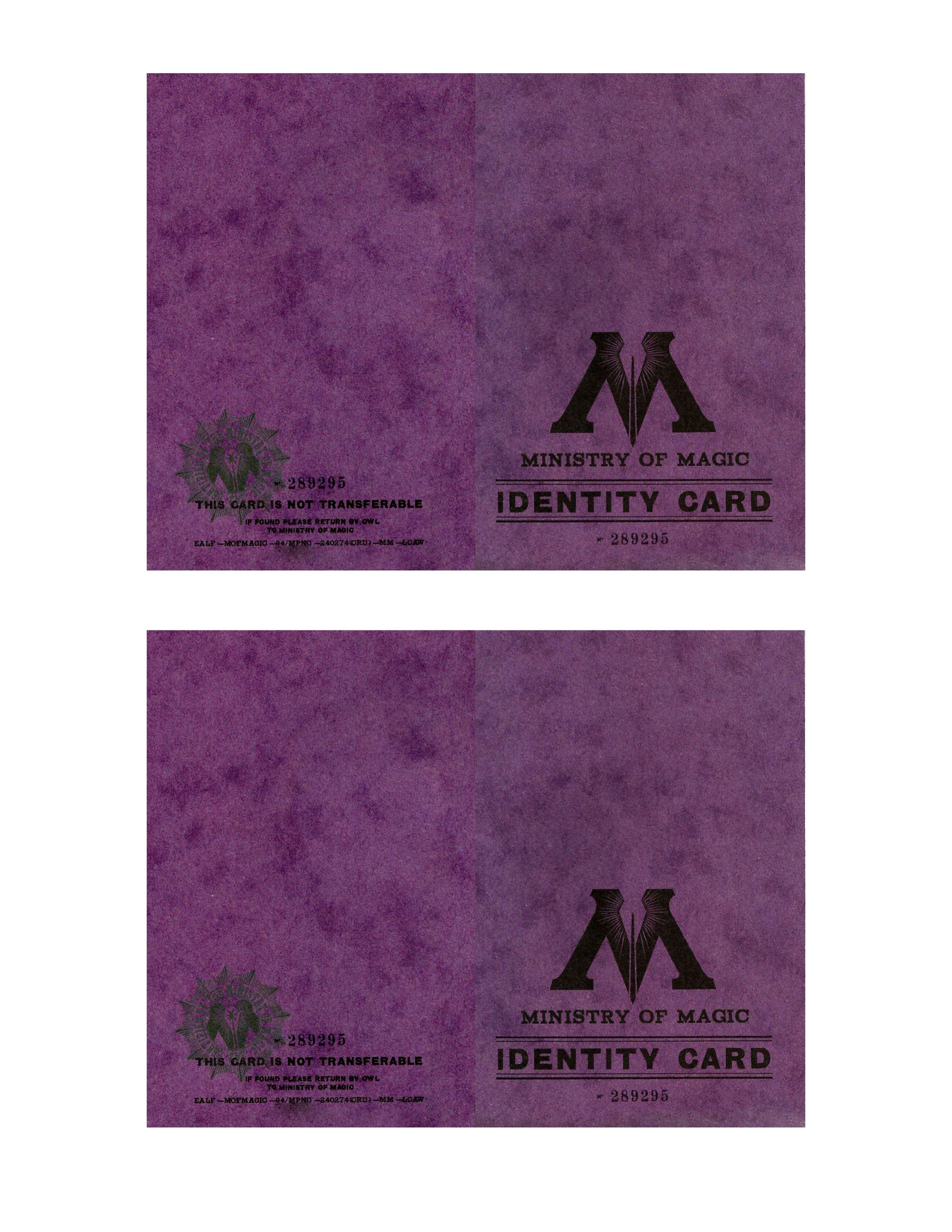 Harry Potter Ministry Of Magic Identification Card Harry Potter Props Ministry Of Magic Harry Potter Cosplay