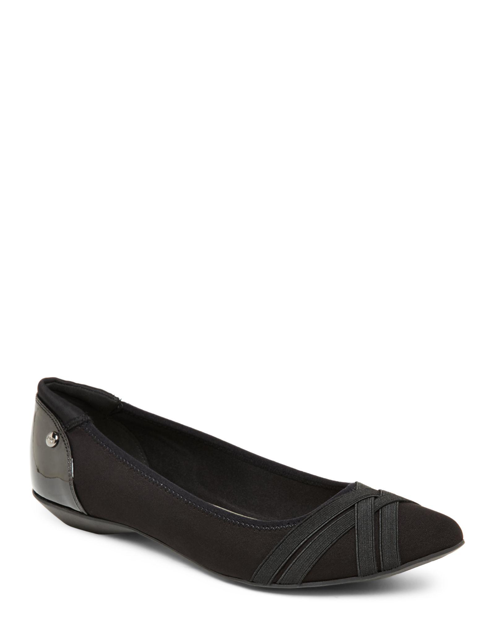 anne klein black flat shoes
