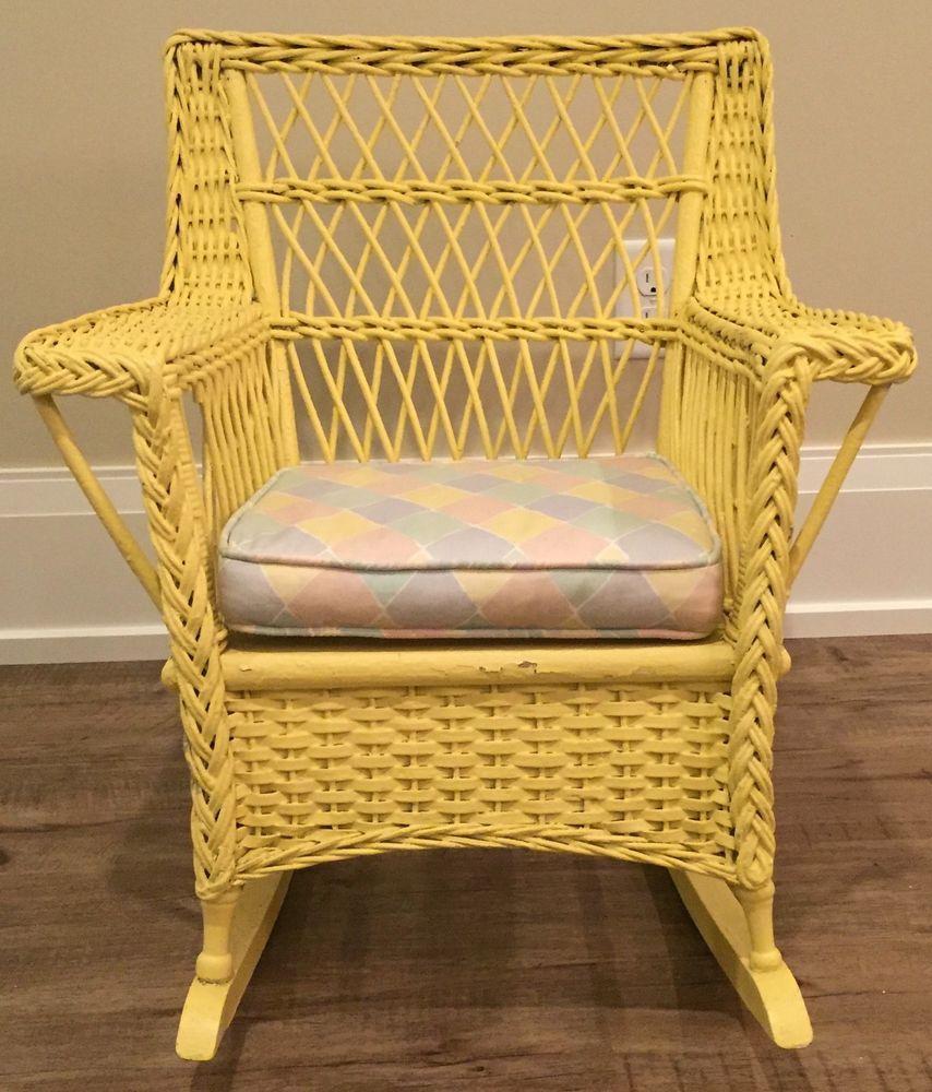 Antique Wicker Child S Rocker Vintage Rocking Chair Antique