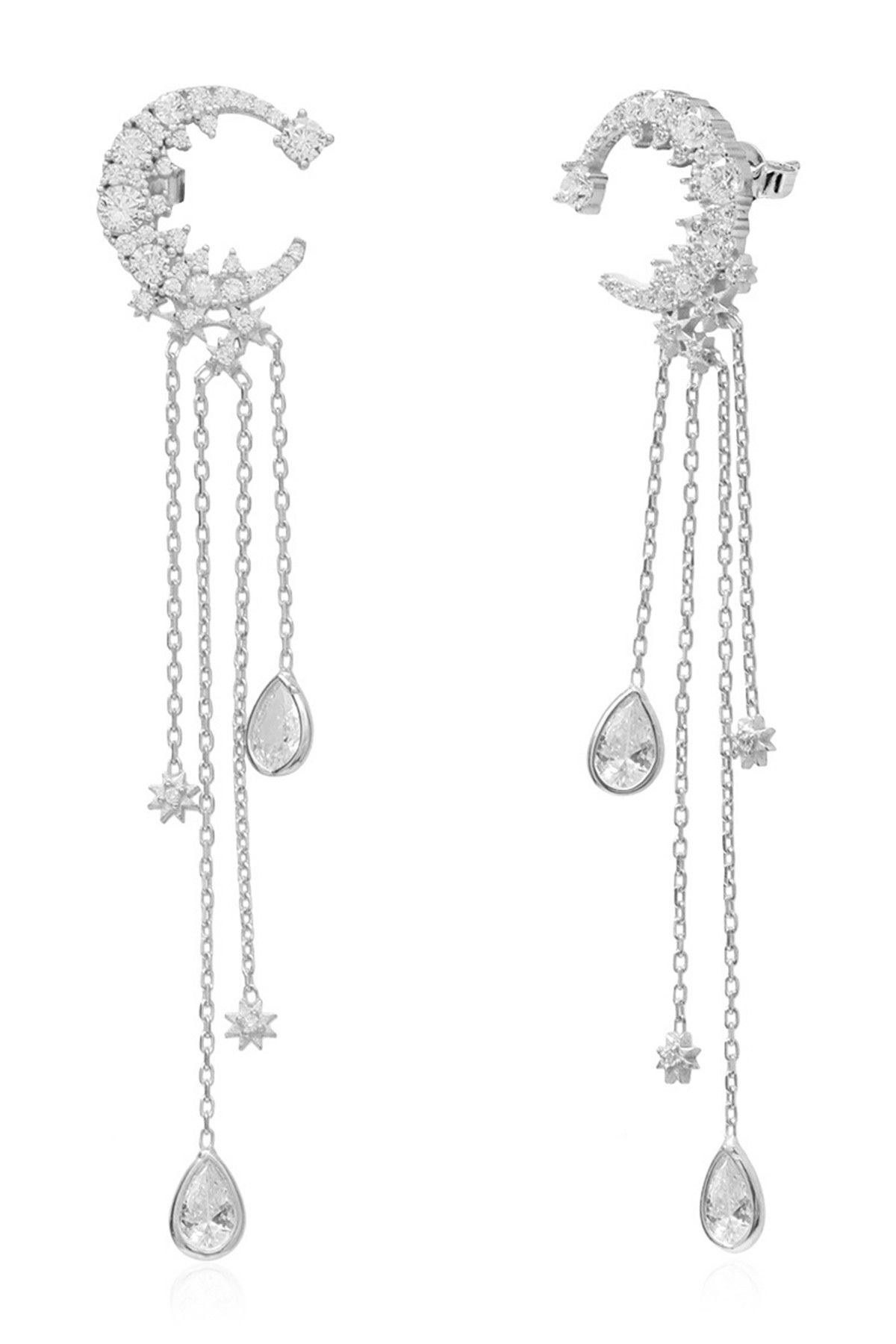 Gab+Cos Designs - Sterling Silver CZ Celestial Moon Chain Drop Earrings is now 52% off. Free Shipping on orders over $100.