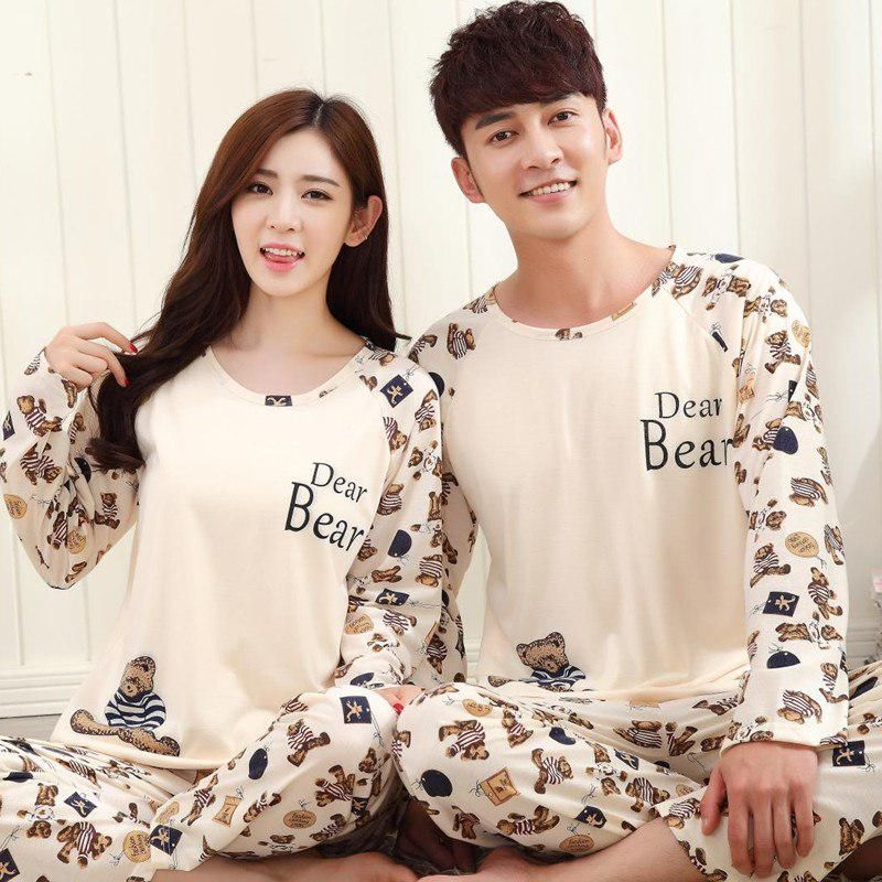 63a7f28f7b6 Spring Autumn Winter Women Long Sleeved Pajamas Set Casual Couple Home Wear  Pyjamas Two Piece Suit Set Lover Cartoon Pajamas. Yesterday s price  US   11.90 ...