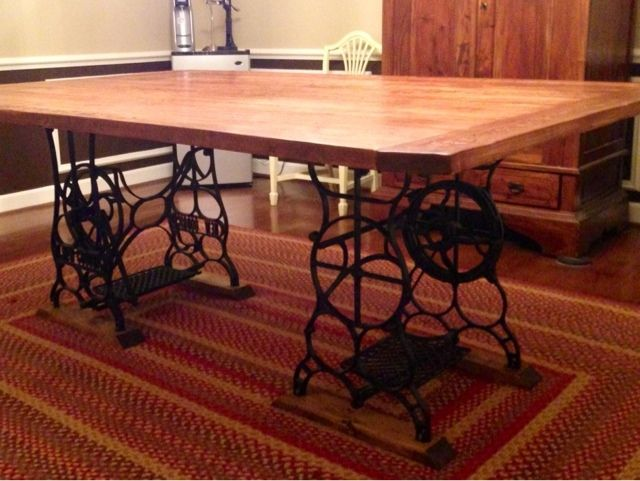 farmhouse table with antique sewing machine base functioning treadles - Kitchen Table Sewing