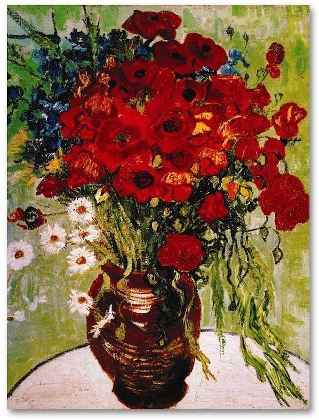 Daisies Poppies 32 X 24 Canvas Wall Art By Vincent Van Gogh In