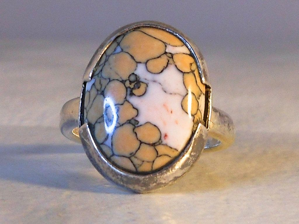 Mens Oval Ring   Sterling Silver    Wild Horse Magnesite   Vintage Mexico  Size…