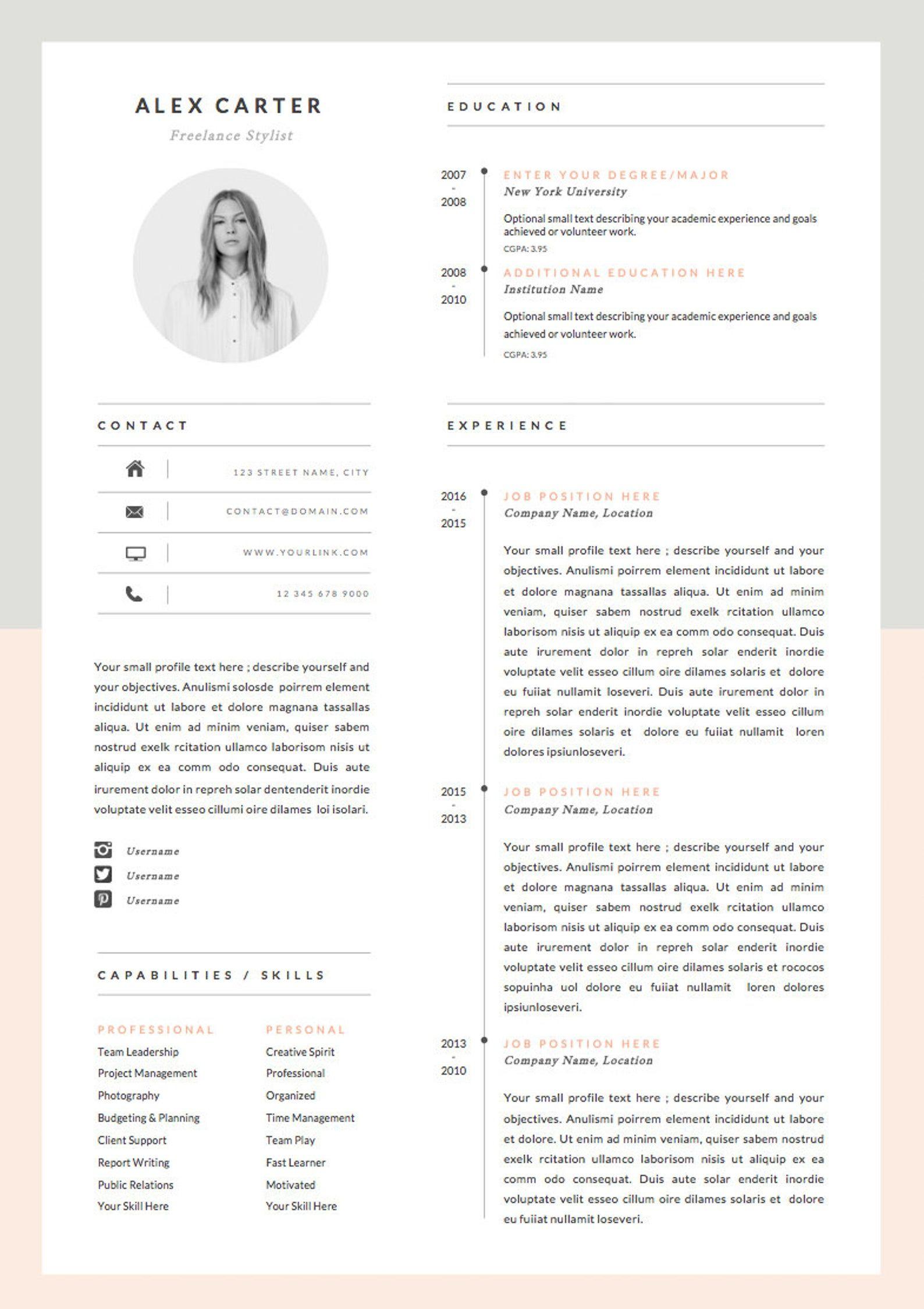 Modello Di Curriculum Moderno E Lettera Di Presentazione Set Etsy In 2020 Letter Icon Infographic Resume Modern Resume Template