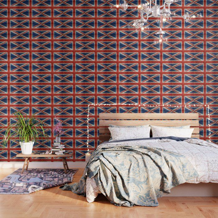 Uk British Union Jack Flag Bright Retro Peel And Stick Wallpaper By Bruce Stanfield 2 X 8 Peel And Stick Wallpaper Wallpaper Uk Retro Wallpaper