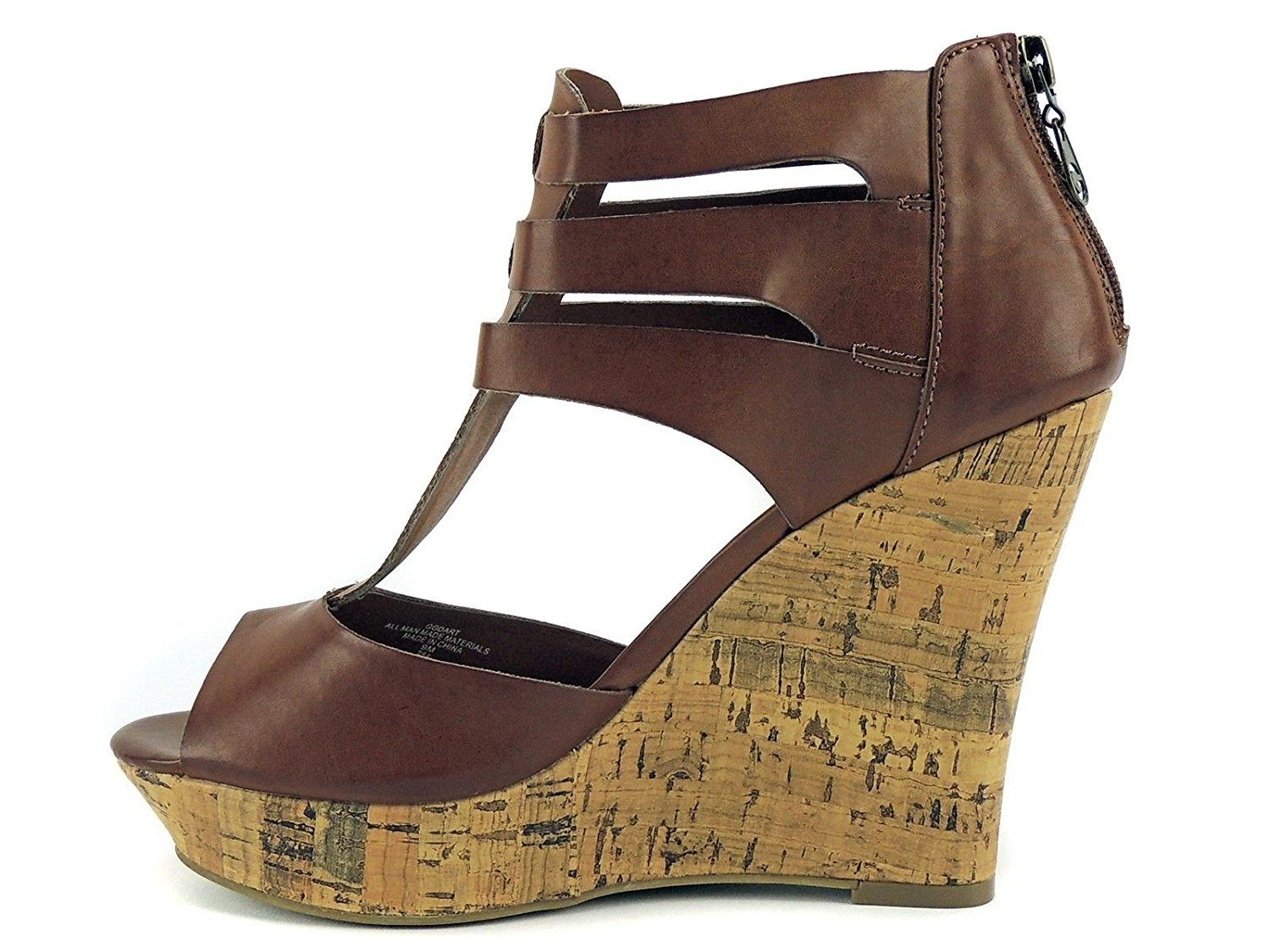 Women's Size 9.5 Shoes Carved Wedges Heel Decorative Design Top Straps