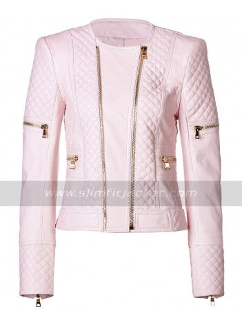 Ladies Pink Leather Biker Jacket For Sale At Affordable Price