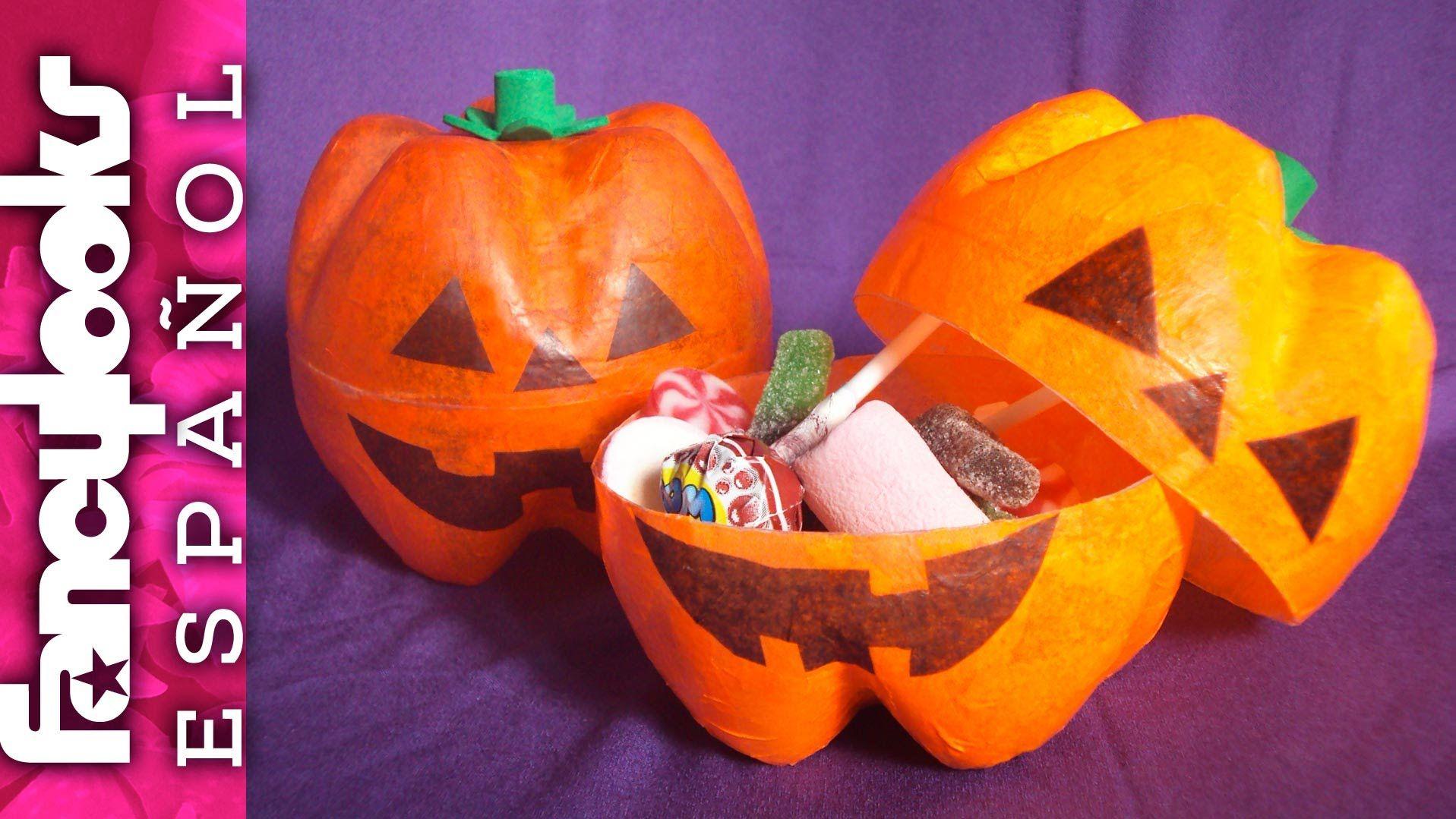 Dulcero calabaza de botellas de refresco halloween - Calabazas de halloween manualidades ...