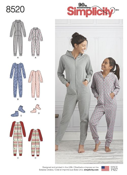 for Sewing adult pajamas pattern footed